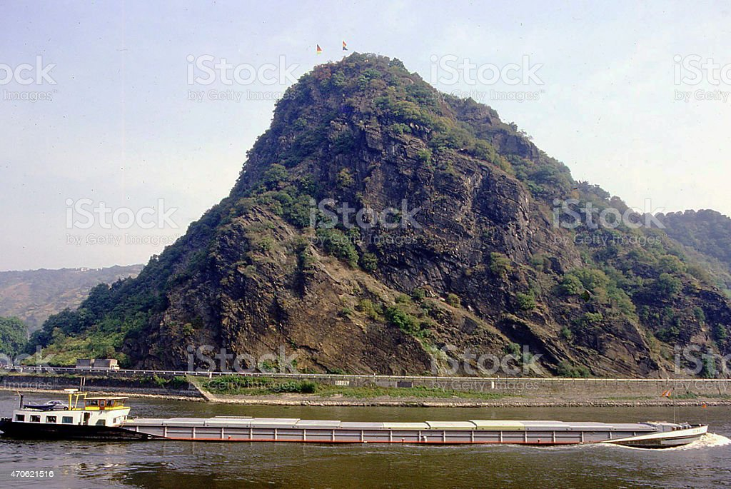 Loreley Cliffs and River Barge near Boppard Rhine River Germany stock photo