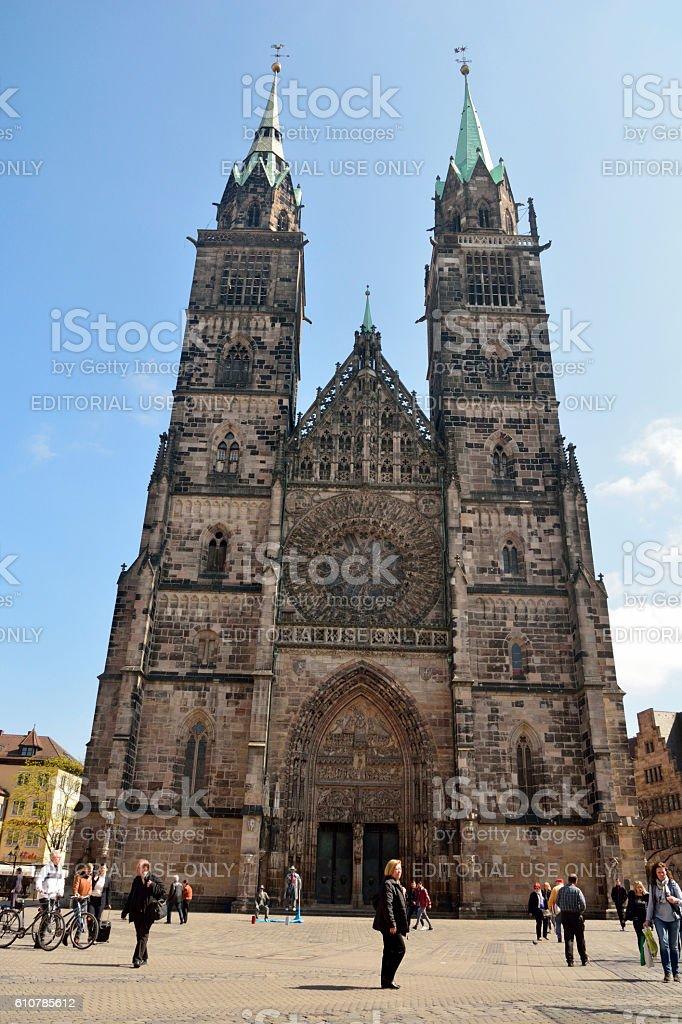 Lorenzkirche church on Lorenzplatz in Nuremberg stock photo