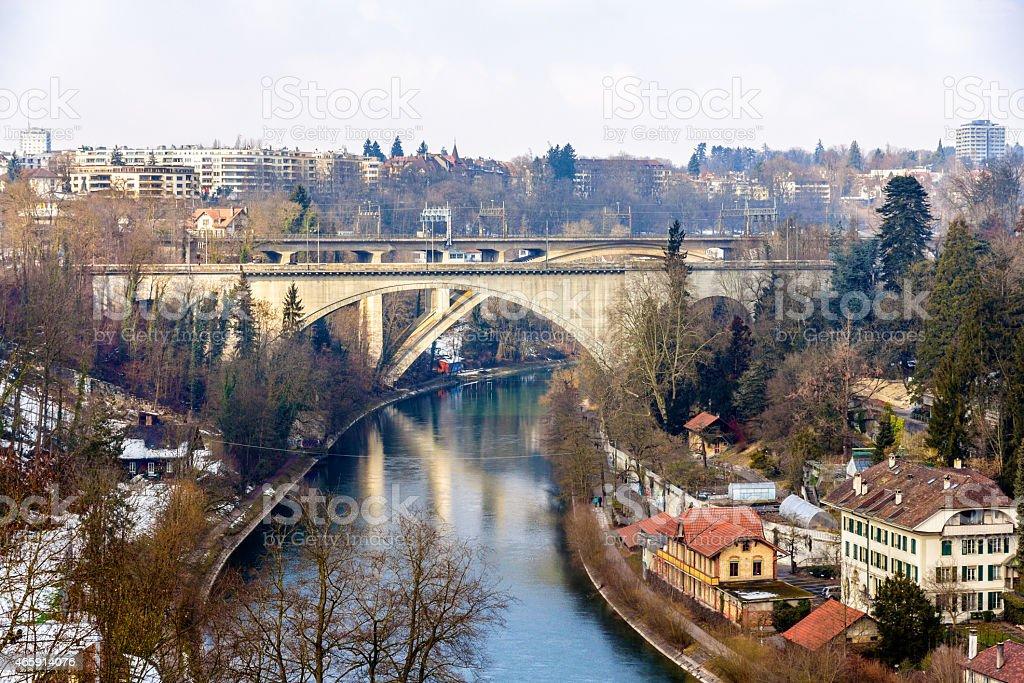 Lorrainebrucke and Lorraineviadukt bridges in Bern - Switzerland stock photo