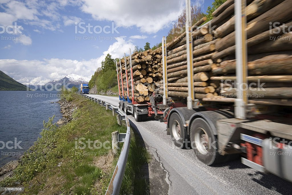 Lorries on E39 in Norway stock photo