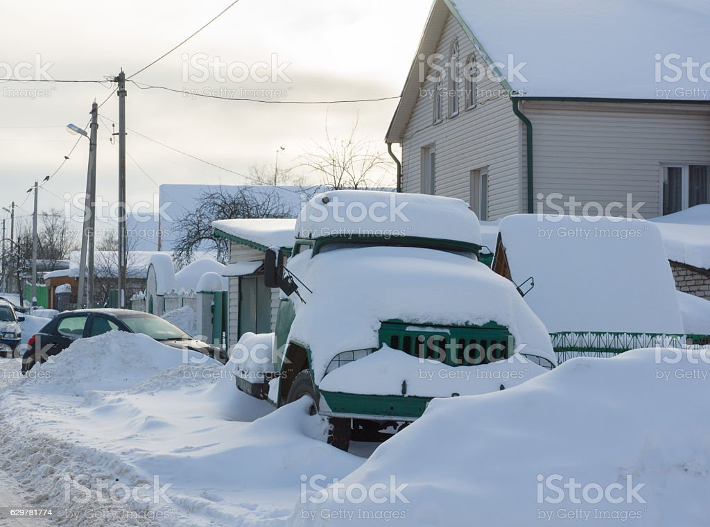 Lorry in the snow stock photo