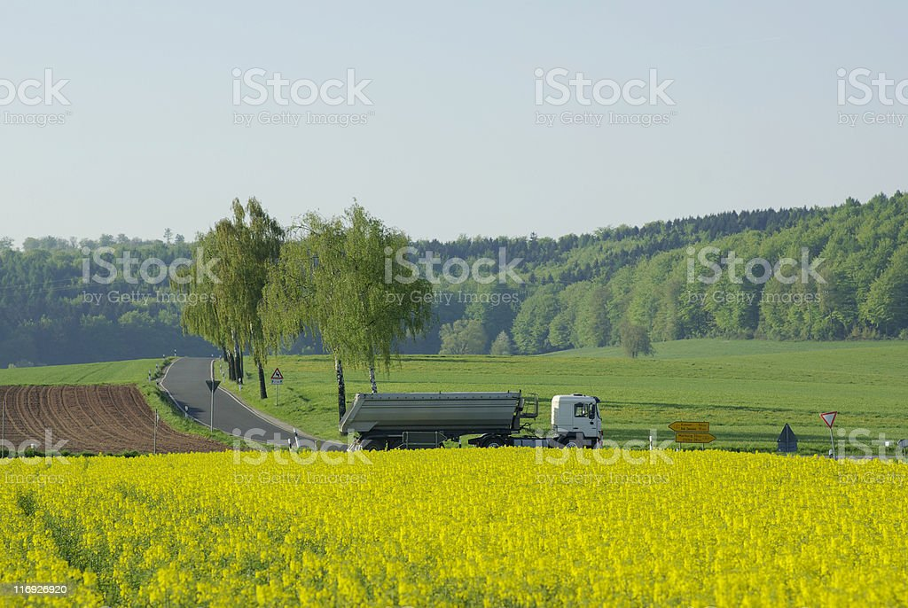 Lorry on a Federal road behind flowering rape field royalty-free stock photo