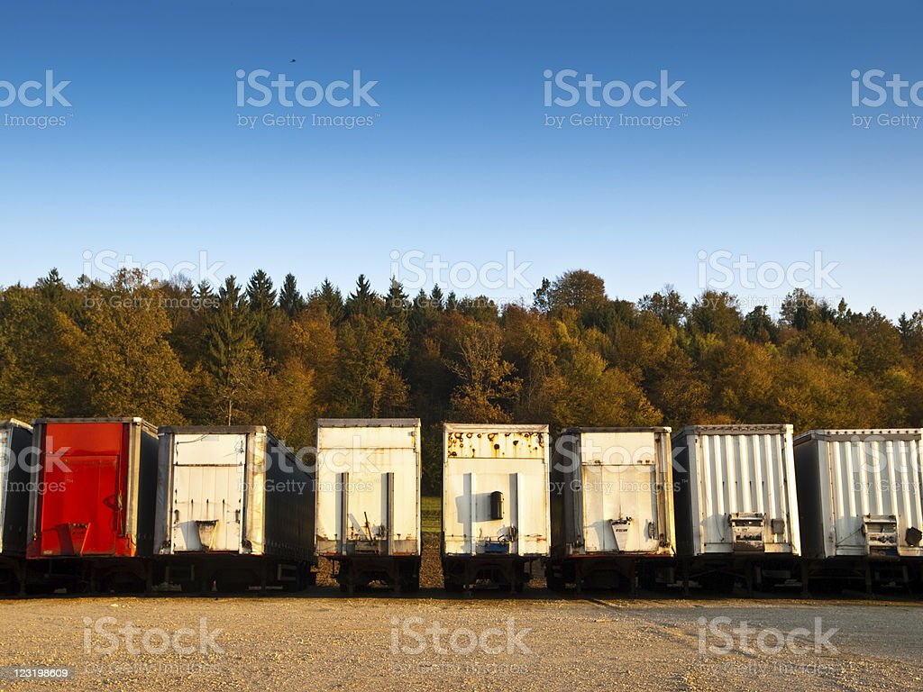 Lorry trailers on parking lot royalty-free stock photo