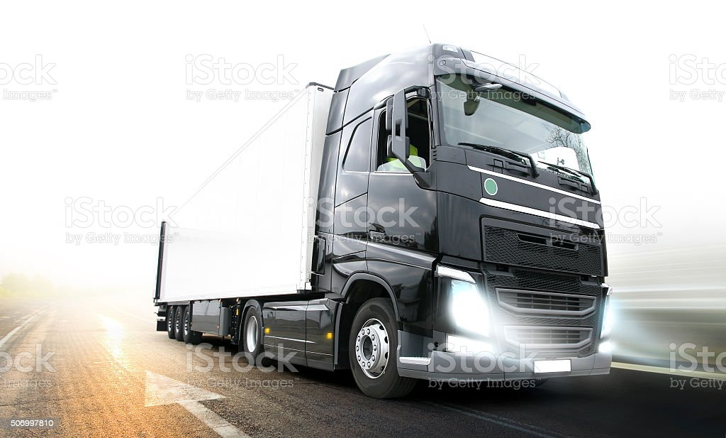 Lorry Truck on freeway stock photo