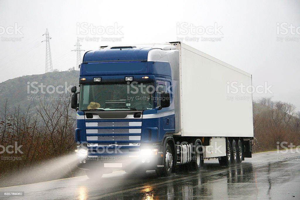 Lorry truck on highway stock photo