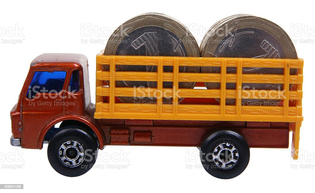 lorry with coins stock photo