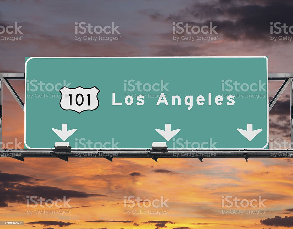 Los Angeles 101 Freeway Sunrise Sky stock photo