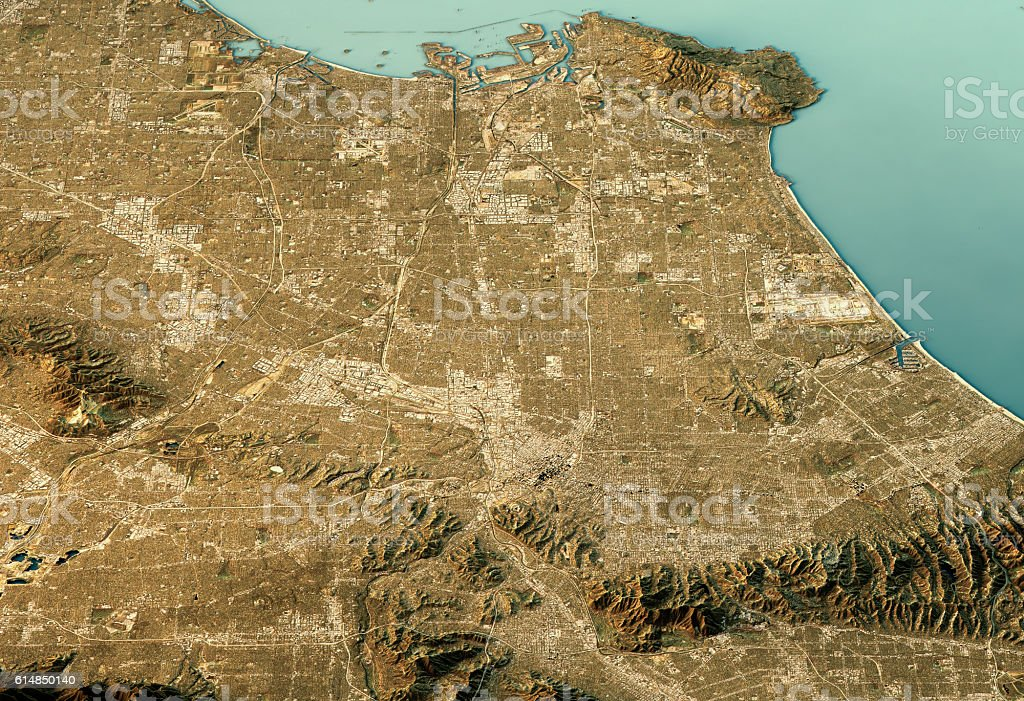 Los Angeles 3D Landscape View North-South Natural Color stock photo