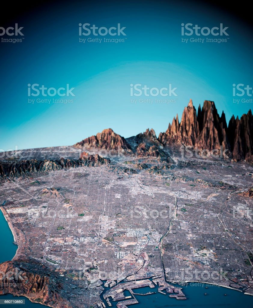Los Angeles 3D Render Satellite View Topographic Map Vertical stock photo