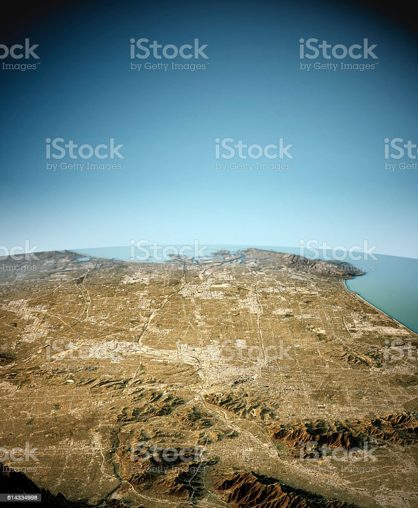 Los Angeles 3D View North-South Natural Color vector art illustration
