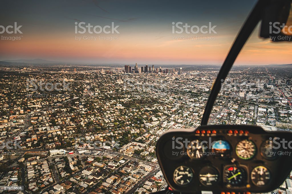 Los Angeles aerial view skyline from the helicopter stock photo