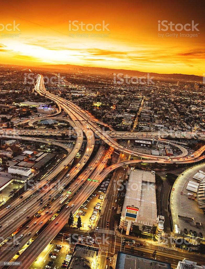 Los Angeles aerial view skyline stock photo