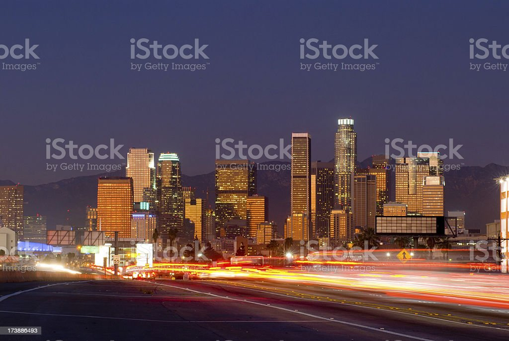 Los Angeles at dusk and freeway royalty-free stock photo