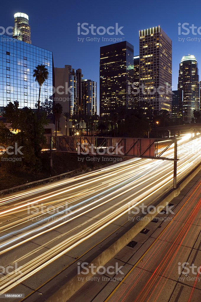Los Angeles at night royalty-free stock photo