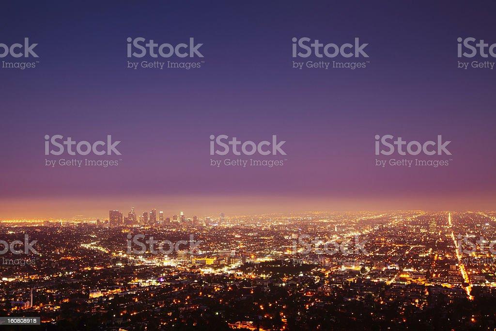 Los Angeles at nightfall stock photo