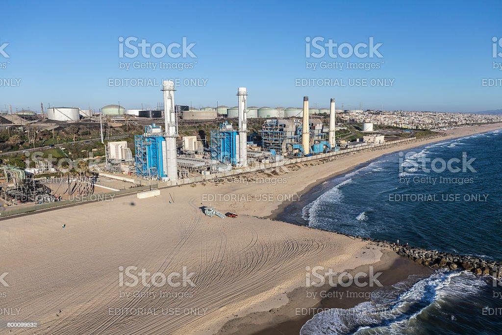 Los Angeles Beach Power Plant stock photo