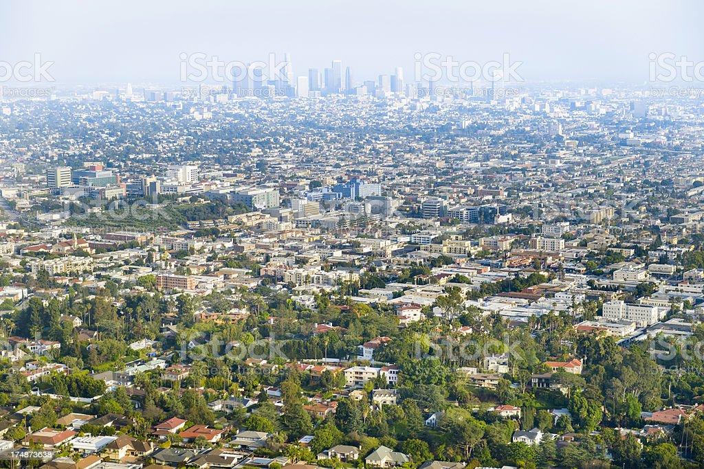 Los Angeles California skyline and urban sprawl panorama aerial view royalty-free stock photo