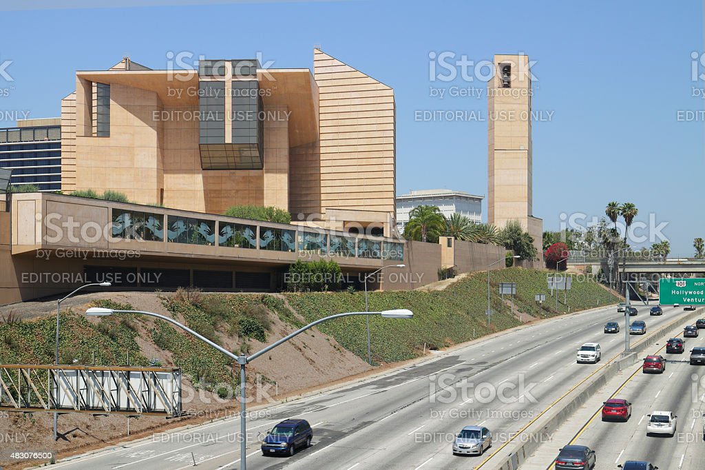 Los Angeles Cathedral + Hollywood Freeway stock photo