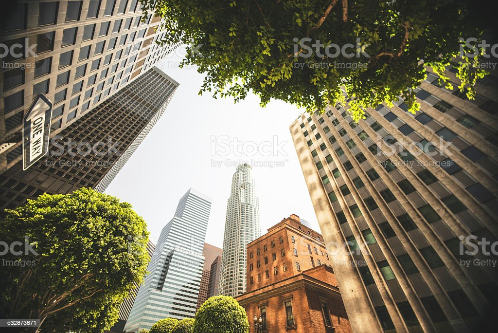 Los angeles city downtown stock photo