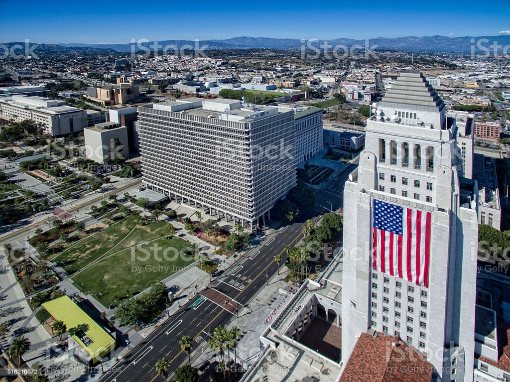 Los Angeles City Hall Aerial stock photo