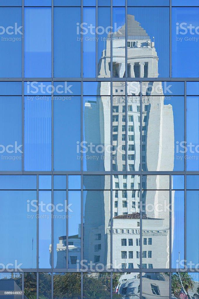 Los Angeles City Hall Reflection stock photo