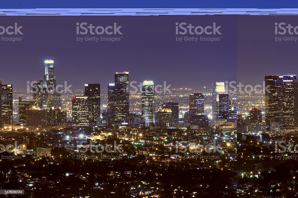 Los Angeles city skyline at night stock photo