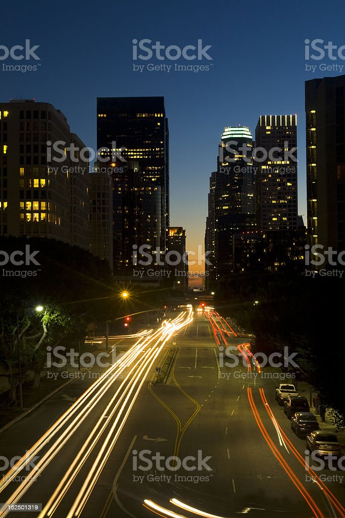 Los Angeles city skyline at night. royalty-free stock photo