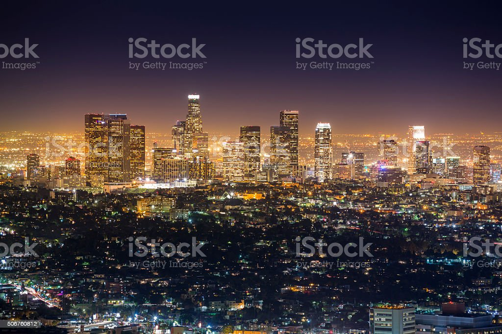 Los Angeles city skyline stock photo
