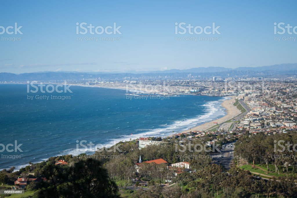 Los Angeles Cityscape from Palos verdes stock photo