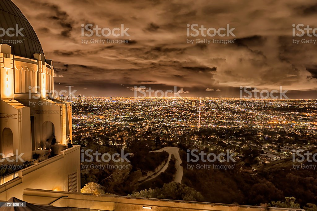 Los Angeles cityscape on overcast night from hilltop stock photo