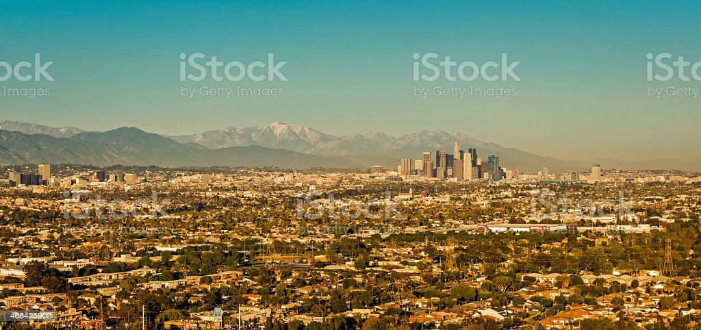 Los Angeles Cityscape with Large Residential Area from the West stock photo