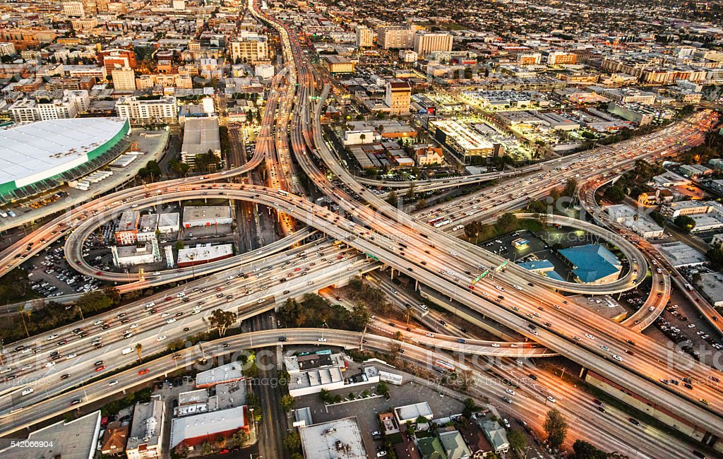 Los Angeles crossway junction aerial view stock photo