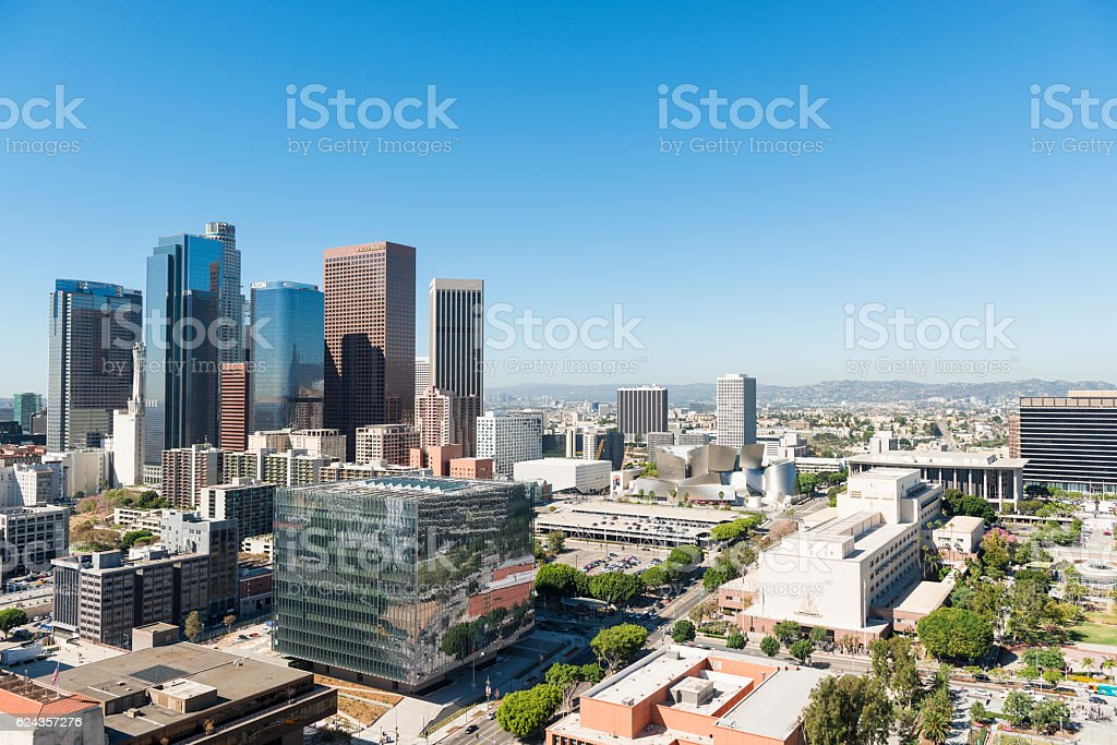 Los Angeles downtown aerial view stock photo