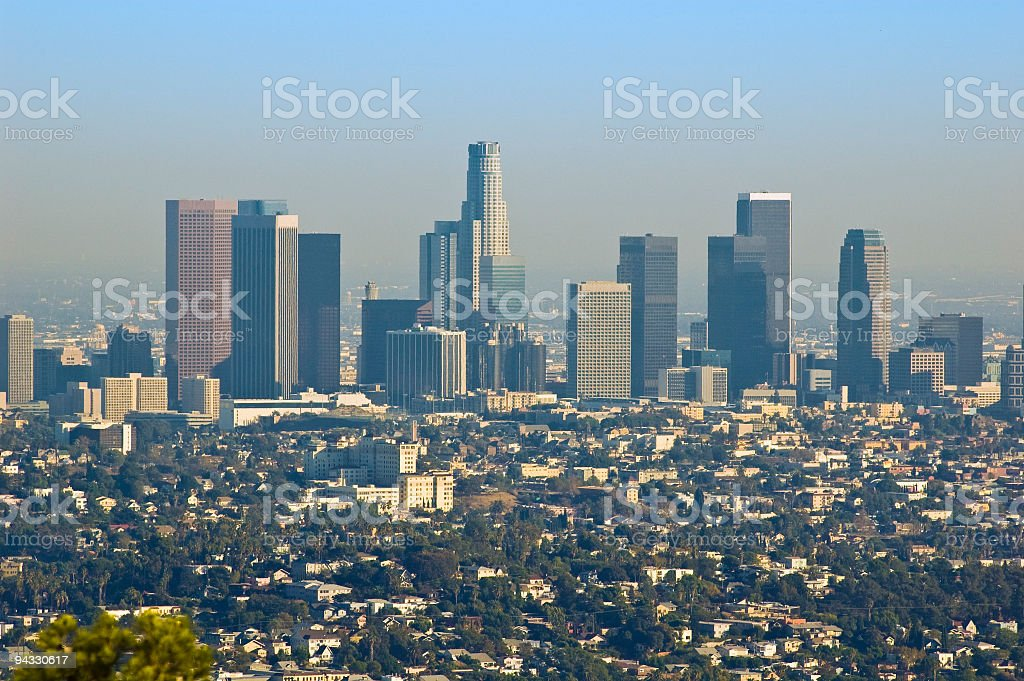 Los Angeles downtown and suburbs stock photo