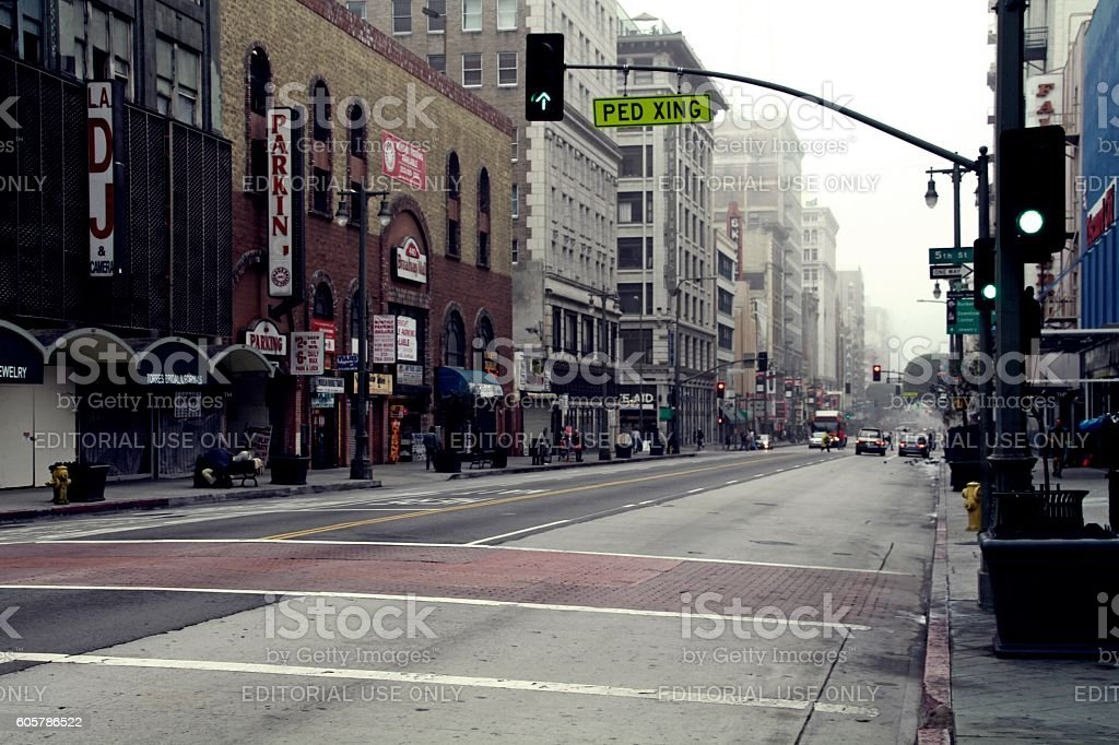 Los Angeles Downtown at Cloudy Morning stock photo