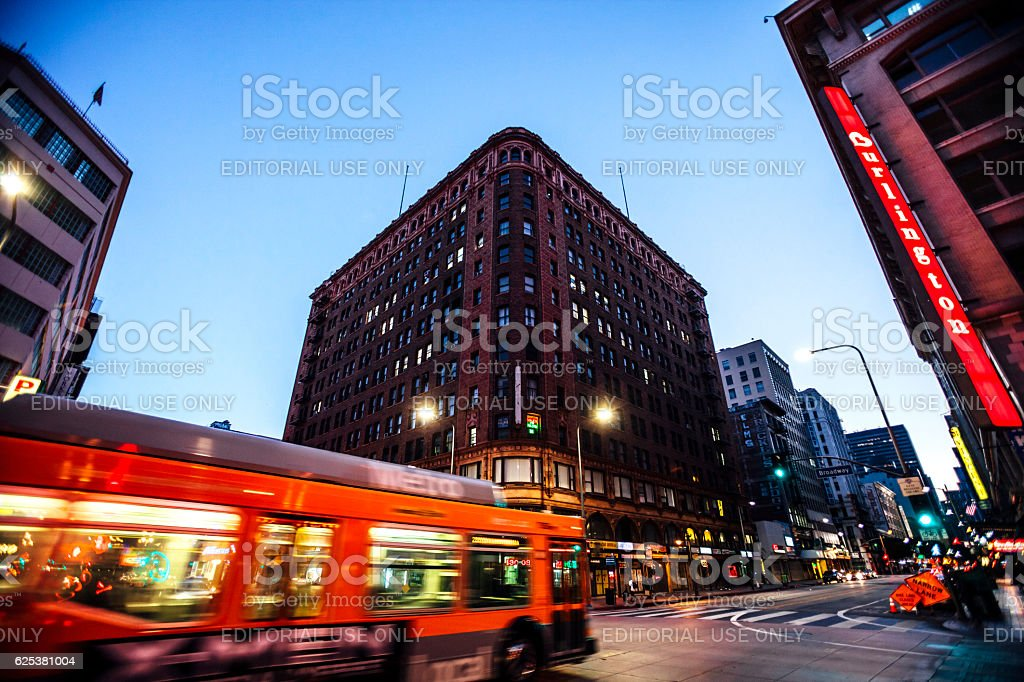 Los Angeles downtown by night. stock photo