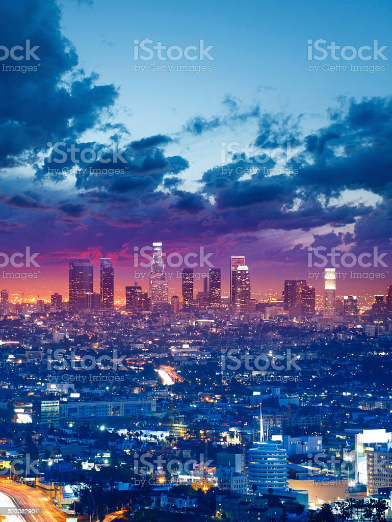 Los Angeles downtown by twilight stock photo