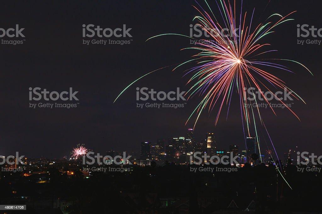 Лос-Анджелес города, с фейерверком Стоковые фото Стоковая фотография
