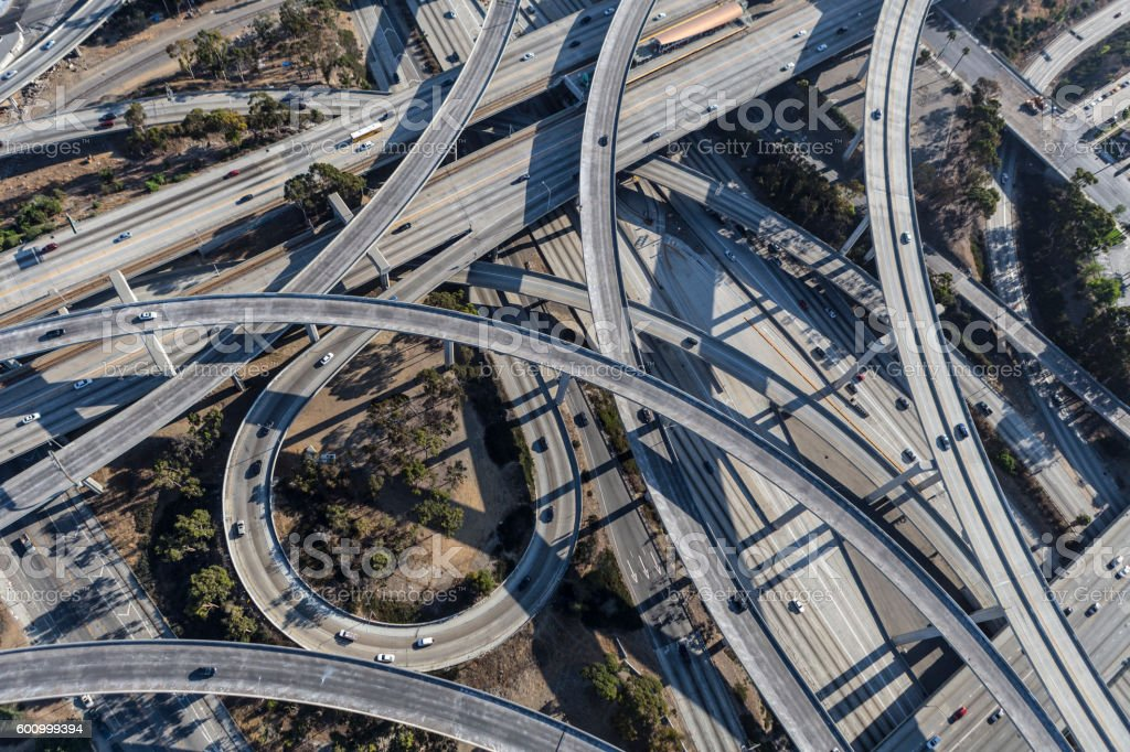 Los Angeles Freeway Interchange Aerial stock photo