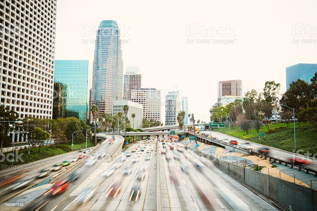 los angeles freeway with traffic on a warm day royalty-free stock photo