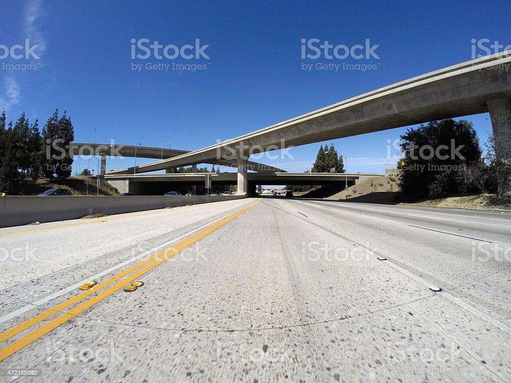 Los Angeles Freeways in San Fernando Valley stock photo