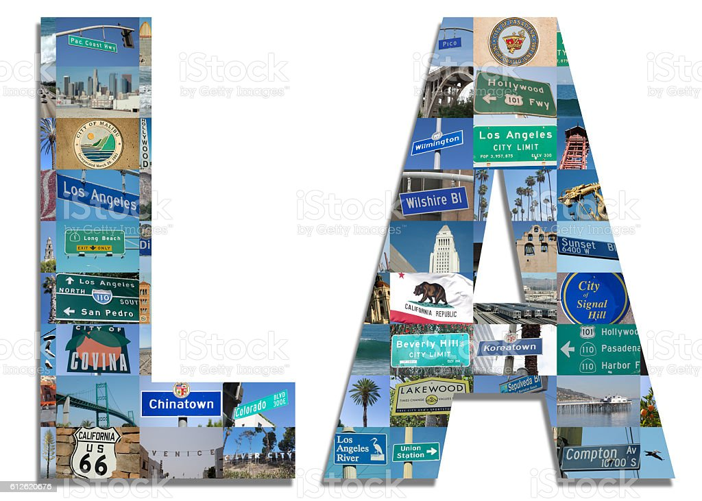 Los Angeles Initials with Los Angeles landmarks stock photo