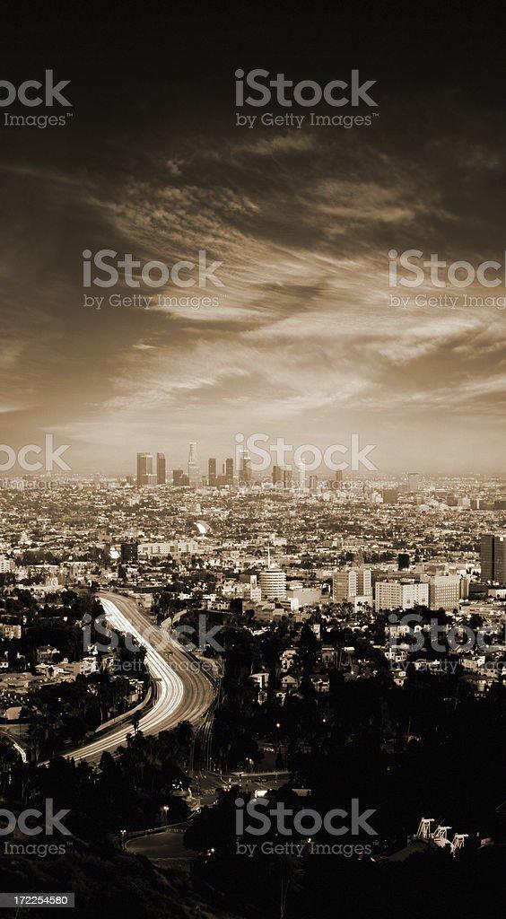 Los Angeles Long Exposure at Dusk royalty-free stock photo