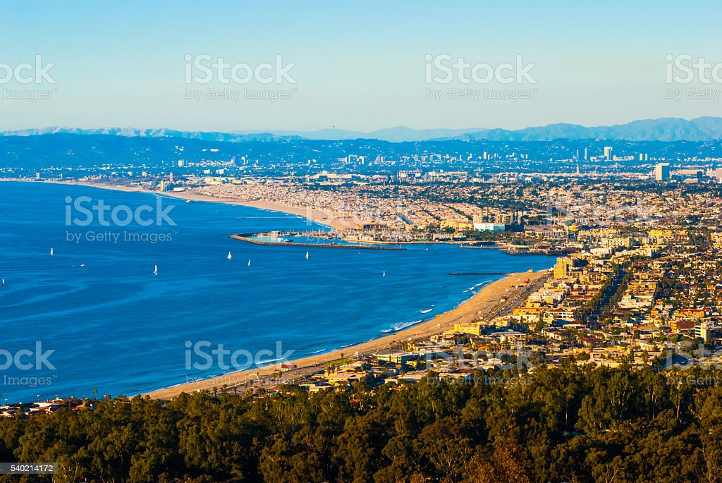 Los Angeles Metropolitan Area view with Santa Monica Bay stock photo
