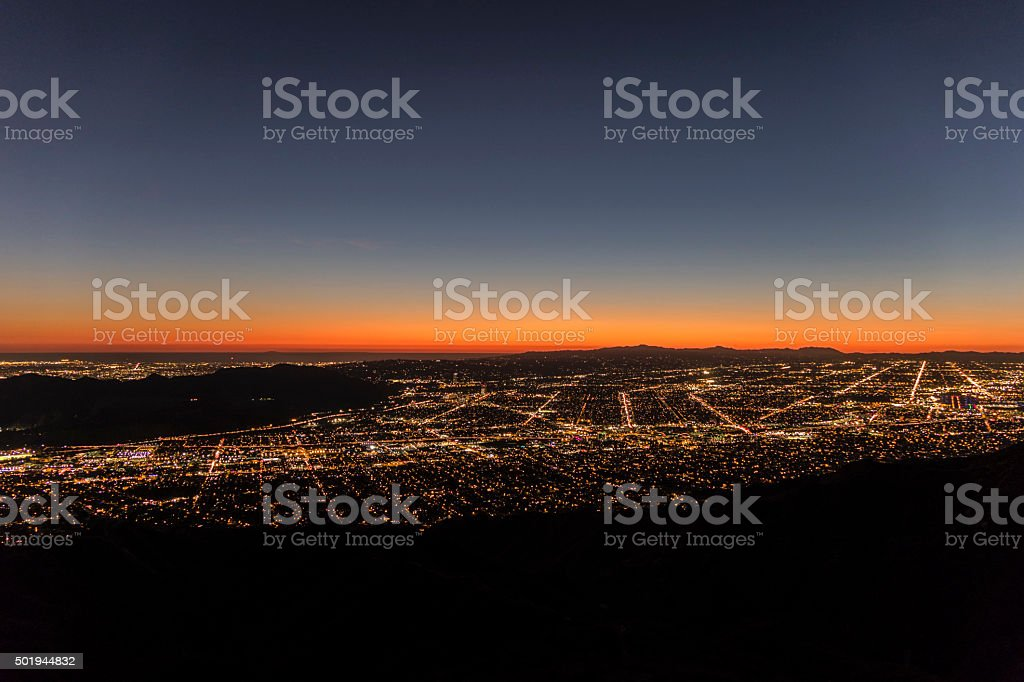 Los Angeles Mountain View Twilight stock photo