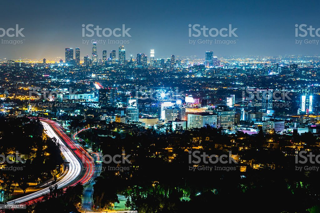 Los Angeles night cityscape stock photo