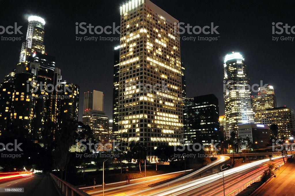 Los Angeles Night Skyline stock photo