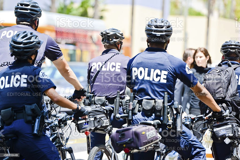 Los Angeles Police on bikes stock photo
