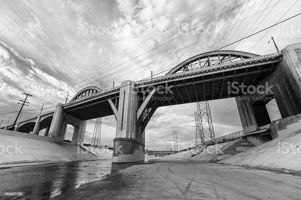 Los Angeles River and 6th Street Bridge stock photo