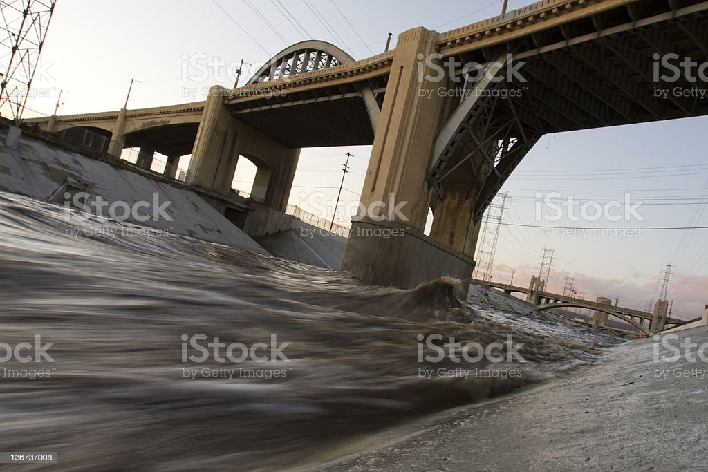 Los Angeles River Polluted stock photo